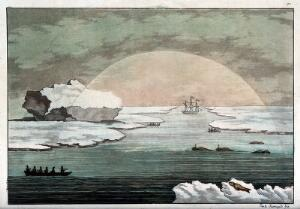 view Meteorology: the sun in Baffin Bay disperses thick fog in the shape of a semicircle. Coloured etching by P. Fumagalli, 1827, after B. O'Reilly.