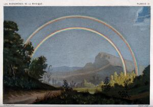 view Meteorology: a double rainbow. Coloured lithograph by R.H. Digeon, 1868, after E. Ronjat.