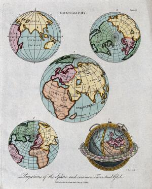 view Geography: the hemispheres of a globe. Engraving by J. Pass, 1807.