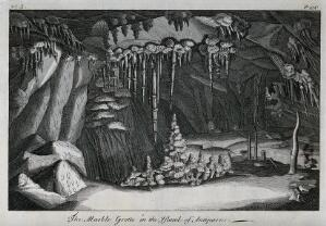 view Geology: the grotto at Antiparos. Engraving.