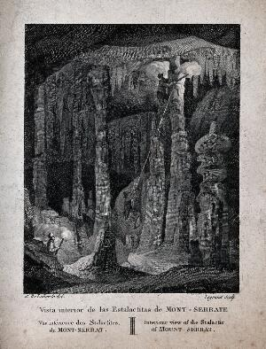 view Geology: visitors climbing the large stalactites in a cave at Montserrat. Engraving by Legrand after A. de Laborde.