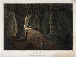 view Geology: two soldiers being shown the interior of Poca Roca Cave. Coloured aquatint, 1801.