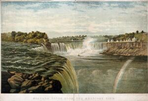 view Geography: Niagara Falls, seen from a distance. Coloured lithograph, ca.1890, after G.H. Andrews.