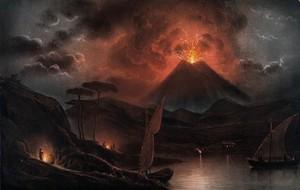 view A volcano (Mount Etna?) erupting at night. Coloured aquatint.