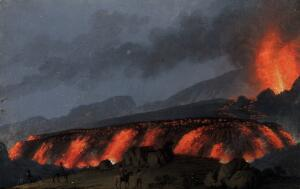 view A volcano (Mount Etna?) erupting at night. Gouache painting.