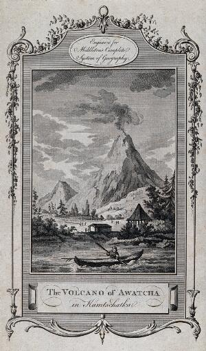 view The volcano of Awatcha (Avacha) in Kamchatka, Siberia. Etching with engraving.