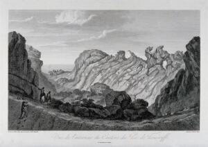 view The interior of the crater of Pico de Teide, Tenerife. Etching by P. Parboni after J.G. Gmelin after A. von Humboldt.