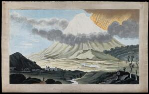 view Popocatapetl, Mexico: a flank eruption of the volcano, showing the lateral blast. Watercolour.