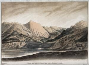 view La Coupe d'Ayzae, Ardèche, France: the lake and the volcanic cone. Coloured aquatint by Weddell after G.P.S.