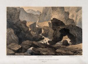 view Saian Mountains, Mongolia: the crater of a volcano with irregular rock formations. Lithograph by J. Needham, 1858, after T.W. Atkinson.