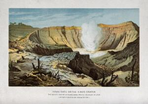 view Tangkubanperahu volcano, Java: Kawa Ratu, the active crater. Colour lithograph after Hochstetter.