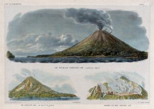view Merapi volcano, Java: three views. Lithographs by W.J. Gordon after P. van Oort and Q. Ver Huell.