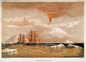 view Mount Erebus, Antarctica: the volcano in eruption. Chromolithograph, 1868.