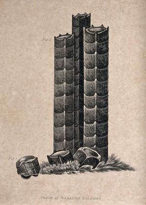 view Three columns of basalt, with fragments. Aquatint, 1816.