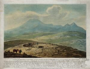 view Iceland: the mound and pipe from which a geyser issues, as shown immediately after an eruption. Coloured aquatint by F. Chesham, 1798.