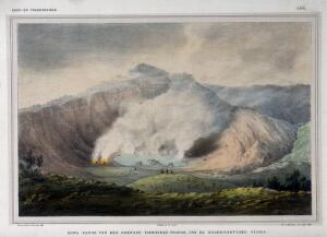view Tangkubanparahu volcano, Java: the Ratu fumarole and crater. Colour lithograph by W.J. Gordon after P. van Oort.