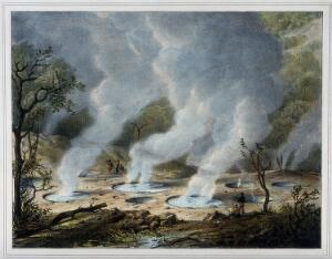 view Hot mud wells in the crater of the volcano Papandayan, Java. Coloured lithograph by W.J. Gordon after P. van Oort, 1833.