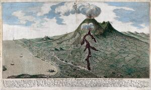 view Mount Vesuvius erupting: view from the south, with surrounding countryside and coastline. Coloured etching by F. Morghen, 1752, after F. Geri, 1752.