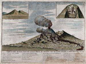view Mount Vesuvius erupting in 1755, seen from the west, with two small views of the volcano in 1631, and of the volcano's crater in section. Coloured etching by N. D'Oraty.