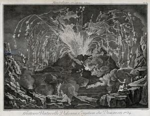 view Mount Vesuvius erupting dramatically in 1754, with three spectators looking on. Etching by R. Benard after Delarue.