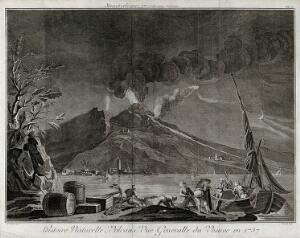 view Mount Vesuvius in quiescence by night, 1757, with the Bay of Naples and fishermen. Etching by Benard after Delarue.