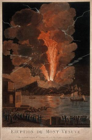 view Mount Vesuvius erupting at night, billowing clouds and flashes of lightning, and with many spectators viewing the event across the bay of Naples. Coloured mezzotint with etching by J.M. Mixelle after A. d'Anna.