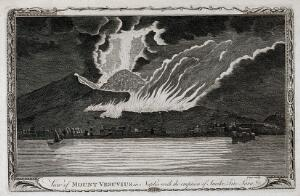 view Mount Vesuvius by night, erupting with smoke, fire, and lava, with houses on the Bay of Naples. Etching with engraving by Page.
