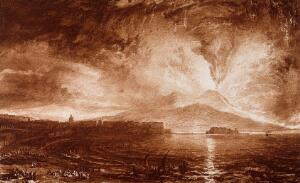 view Vesuvius in eruption, with spectators on the beach at Naples and the Neapolitan skyline in the foreground. Colour process print after J.M.W. Turner.