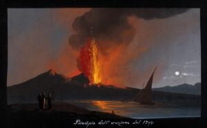 view Mount Vesuvius in eruption at night, with smoke, fire, and lava, over the Bay of Naples. Gouache, 1794.