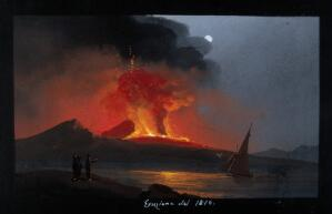 view Mount Vesuvius in eruption at night, with smoke, fire and lava, over the Bay of Naples. Gouache, 1810.