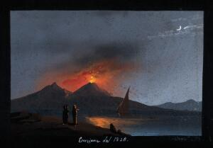 view Mount Vesuvius in eruption at night, showing the Bay of Naples in the foreground with a sailing boat, and spectators on the opposite shore. Gouache, 1828.