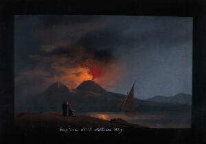 view Mount Vesuvius in eruption at night, showing the Bay of Naples in the foreground with a sailing boat, and spectators on the opposite shore. Painting in gouache, 1829.