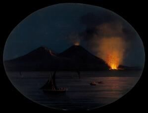 view Mount Vesuvius at night, showing an eruption of smoke fire and lava at its base, with boats on the Bay of Naples in the foreground.