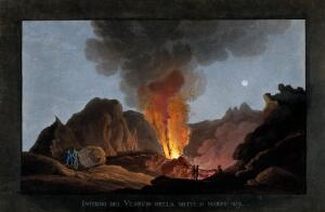 view An eruption of Vesuvius at night, 1829, showing the inside of the crater with smoke, fire and lava, and spectators looking on. Coloured aquatint.