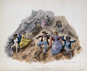 view People promenading down the slopes of Mount Vesuvius. Coloured lithograph by G. Dura, 1850.