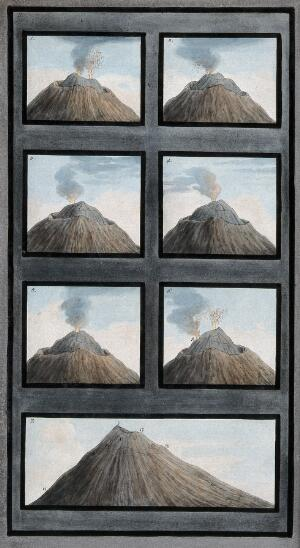 view Mount Vesuvius: the ancient crater and the changing shape of the little mountain within it between 8 and 29 July 1767. Coloured etching by Pietro Fabris, 1776.