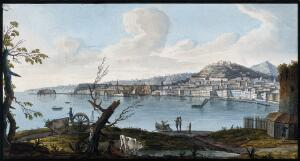 view The city and bay of Naples from the land. Coloured etching by Pietro Fabris, 1776.