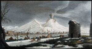 view Mount Vesuvius in winter, covered with snow. Coloured etching by Pietro Fabris, 1776, after his painting, ca. 1754.