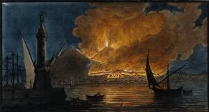 view Mount Vesuvius in eruption in 1767, from the mole at Naples. Coloured mezzotint by Pietro Fabris, 1776, after his painting, 1767.
