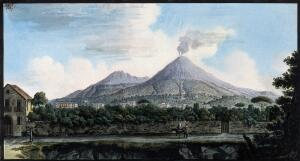 view Mount Vesuvius from the sea shore above Resina. Coloured etching by Pietro Fabris, 1776.