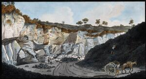 view A quarry from which stones were cut to make the pavements of Naples, showing strata of lava from Mount Vesuvius. Coloured etching by Pietro Fabris, 1776.