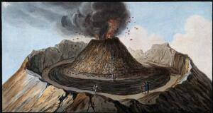 view Mount Vesuvius: interior of the crater showing the little mountain inside it, with spectators. Coloured etching by Pietro Fabris, 1776.