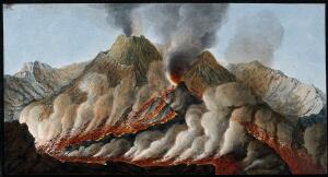 view Mount Vesuvius: interior of the crater showing the flow of lava in an eruption. Coloured etching by Pietro Fabris, 1776, after his painting, 1756.