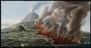 view Mount Vesuvius: a volcanic eruption at the foot of the mountain, 1760-1761, causing the destruction of the land and property. Coloured etching by Pietro Fabris, 1776, after his drawing, 1760-1761.