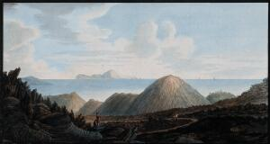 view Little mountains raised in 1760 by the eruption of Mount Vesuvius, inland and offshore. Coloured etching by Pietro Fabris, 1776.