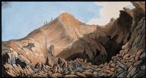 view Interior of the crater of one of the little mountains raised by the eruption of Vesuvius in 1760, with large and small fragments of larva. Coloured etching by Pietro Fabris, 1776.