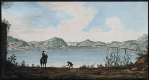 view The lake of Agnano. Coloured etching by Pietro Fabris, 1776.