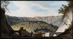 view The crater of Astruni: vegetation, the gamekeeper's lodge and a volcanic pool. Coloured etching by Pietro Fabris, 1776.