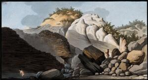 view The Pisciarelli (a hot spring) issuing from the cone of the Solfatara, and a man bathing in the hot waters. Coloured etching by Pietro Fabris, 1776.