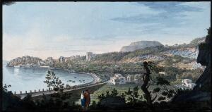 view Pozzuoli, with Monte Barbaro in the distance, right. Coloured etching by Pietro Fabris, 1776.